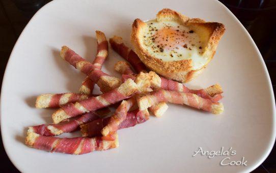 Φωλιτσες αυγων με στικάκια μπεϊκον